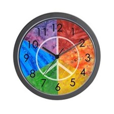 Color Wheel Peace Sign Wall Clock