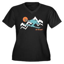 Ski Vermont Women's Plus Size V-Neck Dark T-Shirt