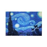 Starry Night Border Collie Rectangle Magnet