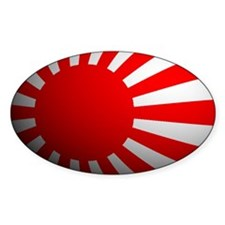 Japan War Flag Rounded Oval Decal