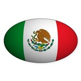 Mexico Flag Rounded Oval Decal
