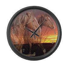 Horses in Sunrise Large Wall Clock