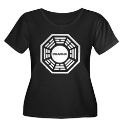 DHARMA Women's Plus Size Scoop Neck Dark T-Shirt