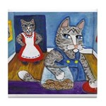 Cat Stealing Cookies Tile Coaster