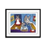 Cat Stealing Cookies Framed Panel Print