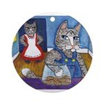 Cat Stealing Cookies Ornament (Round)