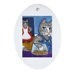 Cat Stealing Cookies Ornament (Oval)