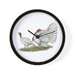 Turkeys: White Holland Wall Clock