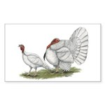 Turkeys: White Holland Sticker (Rectangle 10 pk)