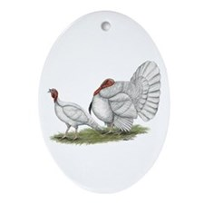 Turkeys: White Holland Ornament (Oval)