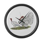 Turkeys: White Holland Large Wall Clock