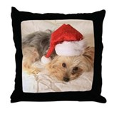Santa Yorkie! Throw Pillow