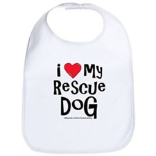 I Love My Rescue Dog Bib
