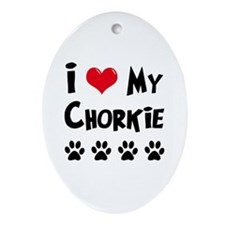 I Love My Chorkie Ornament (Oval)