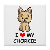 I Love My Chorkie Tile Coaster