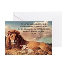 greeting card lion and lamb Greeting Cards