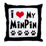 I Love My Min Pin Throw Pillow