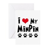 I Love My Min Pin Greeting Cards (Pk of 20)