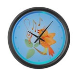 Orange Singing Bird Large Wall Clock