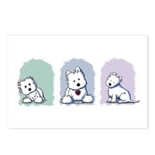Westie Pastel Trio Postcards (Package of 8)