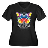 Autism Butterfly Women's Plus Size V-Neck Dark T-S