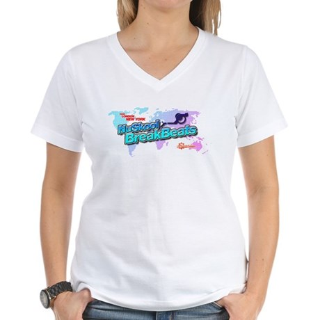 NuSkool BreakBeats Women's V-Neck T-Shirt