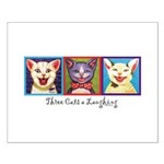 Three Laughing Cats Small Poster