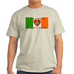 I Love Ireland Shamrock Heart Ash Grey T-Shirt