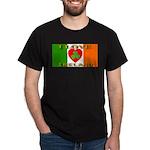 I Love Ireland Shamrock Heart Black T-Shirt