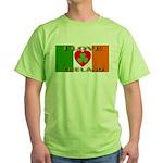 I Love Ireland Shamrock Heart Green T-Shirt