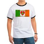 I Love Ireland Shamrock Heart Ringer T