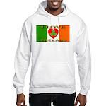 I Love Ireland Shamrock Heart Hooded Sweatshirt