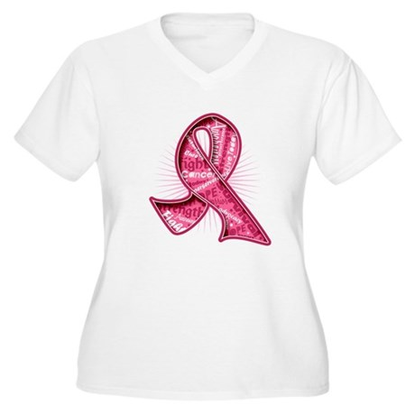 Breast Cancer Watermark Women's Plus Size V-Neck T