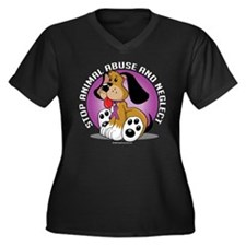 Animal-Abuse-Dog Women's Plus Size V-Neck Dark T-S