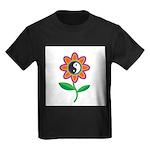 Retro Yin Yang Flower Kids Dark T-Shirt