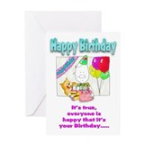 Happy Birthday with cake Greeting Card