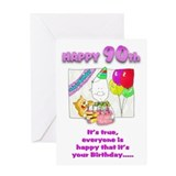 Happy Birthday 90th with cake Greeting Card