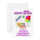 Happy Birthday 80th with cake Greeting Card