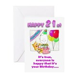 Happy Birthday 21st with cake Greeting Card