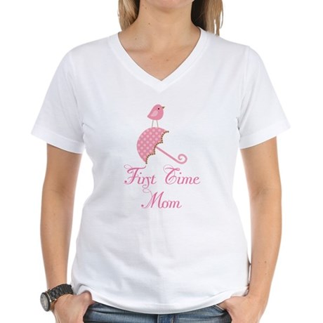 Birdie First Time Mom Women's V-Neck T-Shirt