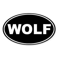 Wolf Black Oval Decal