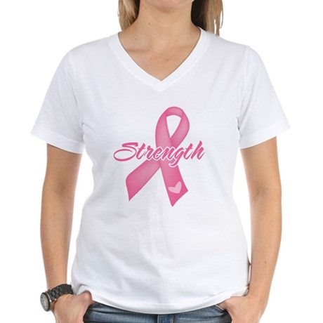 Strength - Breast Cancer Women's V-Neck T-Shirt