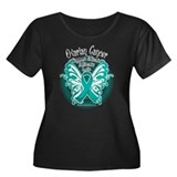 Ovarian Cancer Butterfly 2 Women's Plus Size Scoop
