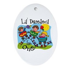 Little Daredevil 1st Birthday Ornament (Oval)