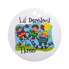 Little Daredevil 3rd Birthday Ornament (Round)