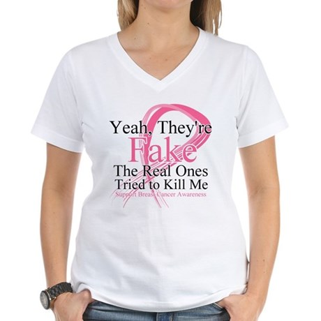 Fake 2 - Breast Cancer Women's V-Neck T-Shirt