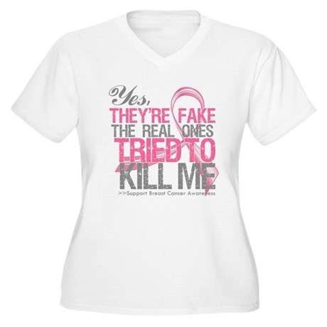 Fake 2 - Breast Cancer Women's Plus Size V-Neck T-
