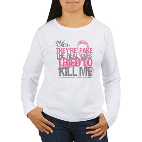 Fake 2 - Breast Cancer Women's Long Sleeve T-Shirt