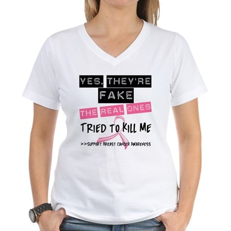 Fake 4 Breast Cancer Women's V-Neck T-Shirt