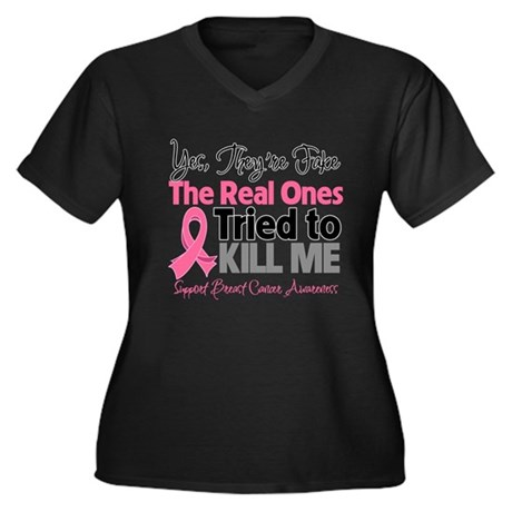 Breast Cancer Fake Women's Plus Size V-Neck Dark T